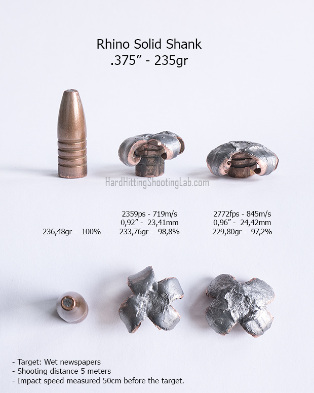 """Rhino Solid Shank .375"""" 235gr"""